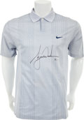 Golf Collectibles:Bags/Flagsticks/Clothing, 2000's Tiger Woods Match Worn Signed Shirt With UDA LOA....