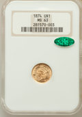 Gold Dollars: , 1874 G$1 MS63 NGC. CAC. NGC Census: (717/752). PCGS Population(769/711). Mintage: 198,820. Numismedia Wsl. Price for probl...