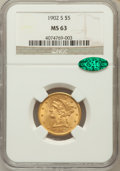 Liberty Half Eagles: , 1902-S $5 MS63 NGC. CAC. NGC Census: (501/683). PCGS Population(599/594). Mintage: 939,000. Numismedia Wsl. Price for prob...
