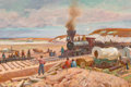 Paintings, OSCAR EDWARD BERNINGHAUS (American, 1874-1952). Early Railroad Building in Missouri. Oil on canvas. 24 x 36 inches (61.0...