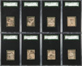 Baseball Cards:Sets, 1912 W-Unc. Baseball Strip Cards SGC Graded Collection (8) - With Two Uncatalogued Subjects. ...
