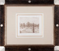 Prints:European Modern, CAMILLE PISSARRO (French, 1831-1903). Jardins Formals, 1890.Chine Appliqué. 8 x 10 inches (20.3 x 25.4 cm). Signed in p...