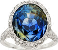 Estate Jewelry:Rings, Edwardian Chameleon Sapphire, Diamond, Platinum, Gold Ring. ...