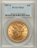 Liberty Double Eagles: , 1897-S $20 MS63 PCGS. PCGS Population (1702/436). NGC Census:(1820/328). Mintage: 1,470,250. Numismedia Wsl. Price for pro...