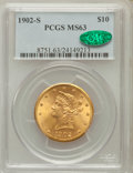 Liberty Eagles: , 1902-S $10 MS63 PCGS. CAC. PCGS Population (788/569). NGC Census: (926/798). Mintage: 469,500. Numismedia Wsl. Price for pr...