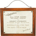 Baseball Collectibles:Others, 1939 Ernie Lombardi Presentational All-Star Team Plaque....