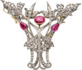 Estate Jewelry:Brooches - Pins, Antique Pink Sapphire, Diamond, Silver, Gold Brooch, French. ...