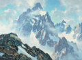 Western, LELAND CURTIS (American, 1897-1992). Grand Tetons, Wyoming. Oil on canvas. 28 x 38 inches (71.1 x 96.5 cm). Signed lower...