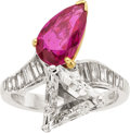Estate Jewelry:Rings, Burmese Ruby, Diamond, Platinum, Gold Ring. ...