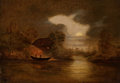 Western, CHARLES FERDINAND WIMAR (German/American, 1828-1862). The Indian Raid. Oil on canvas. 14 x 20 inches (35.6 x 50.8 cm). S...