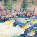 Western:Contemporary, CURT WALTERS (American, b. 1950). High Water, Oak Creek. Oil on canvas. 36-1/4 x 36-1/4 inches (92.1 x 92.1 cm). Signed ...