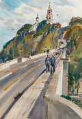 Works on Paper, REX BRANDT (American, 1914-2000). Cabrillo Bridge, Balboa Park, San Diego, 1960. Watercolor on paper. 20 x 13-1/2 inches...