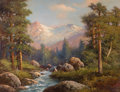 Fine Art - Painting, American, ROBERT WILLIAM WOOD (American, 1889-1979). Landscape withStream. Oil on board. 27-1/2 x 35-1/2 inches (69.9 x 90.2cm)...