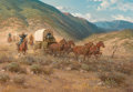 Paintings, MELVIN CHARLES WARREN (American, 1920-1995). Escorting the Supply Wagon, 1968. Oil on canvas. 28 x 40 inches (71.1 x 101...