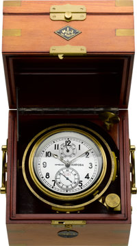 Russian Naval Ships Chronometer With 56 Hour Wind Indicator, circa 1956