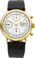 Timepieces:Wristwatch, Jas. Boss 18k Gold Automatic Chronograph, Day And Date. ...