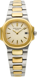 Timepieces:Wristwatch, Patek Philippe Lady's Ref. 4700/1 Steel & Gold Nautilus, circa 1982. ...