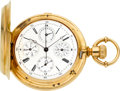 Timepieces:Pocket (pre 1900) , F. Guédin Geneva Fine Gold Chronograph With Calendar, circa 1870's. ...