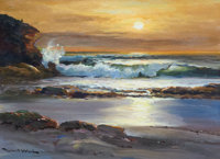 ROBERT WILLIAM WOOD (American, 1889-1979) Sunset at Laguna, 1956 Oil on board 12 x 16 inches (30
