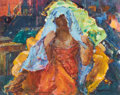 Fine Art - Painting, American:Modern  (1900 1949)  , CLARENCE K. HINKLE (American, 1880-1960). Lady in a BlueVeil. Oil on board. 30 x 36 inches (76.2 x 91.4 cm). Signedlow...