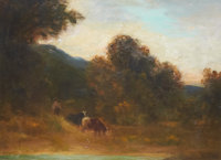 EDWARD RUFUS HILL (American, 1852-1908) Cattle and Herder Oil on board 14 x 19 inches (35.6 x 48