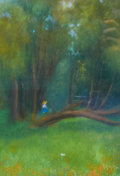 Works on Paper, ANNA ALTHEA HILLS (American, 1882-1930). Figure in the Forest. Pastel on paper. 10 x 7 inches. ...
