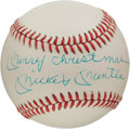 "Autographs:Baseballs, 1980's Mickey Mantle ""Merry Christmas"" Single Signed Baseball...."
