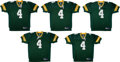 Football Collectibles:Uniforms, 2010 Brett Favre Signed and Stat Inscribed Green Bay Packers Jerseys Lot of 10....