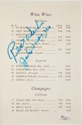 Autographs:Others, Circa 1960 Joe DiMaggio Signed Restaurant Wine List....
