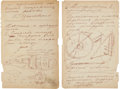 Autographs:Inventors, Konstantin Tsiolkovsky Autograph Manuscript Signed, with Space Travel-Related Drawings. ...