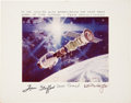 Autographs:Celebrities, Apollo-Soyuz Test Project Crew-Signed Print Originally from the Personal Collection of NASA KSC Mission Support Chief Hal Coll...