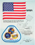 Explorers:Space Exploration, Space Shuttle Challenger (STS-6) Flown American Flag andPatch on Presentation Certificate. ...