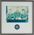 Explorers:Space Exploration, Apollo 1 Crew-Signed Color NASA Glossy Photo with Silver-ColoredApollo 1 Fliteline Medallion in a Framed Display, both Origin...