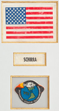 Apollo 7 Commander Wally Schirra's Flown Space Suit Patches (Three) in a Framed Display, Originally from His Personal Co...