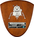 Explorers:Space Exploration, Apollo 12 Lunar Module Flown Spacecraft Identification Plate Display Originally from the Personal Collection of Mission Comman...