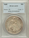 Seated Dollars: , 1849 $1 AU53 PCGS. PCGS Population (37/142). NGC Census: (15/179).Mintage: 62,600. Numismedia Wsl. Price for problem free ...