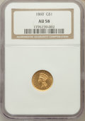 Gold Dollars: , 1860 G$1 AU58 NGC. NGC Census: (21/117). PCGS Population (29/82).Mintage: 36,668. Numismedia Wsl. Price for problem free N...