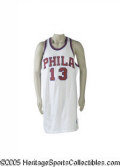 Basketball Collectibles:Uniforms, 1991 Wilt Chamberlain Philadelphia 76ers Presentational RetirementJersey. On March 18, 1991, the Philadelphia 76ers retired...