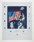 "Autographs:Celebrities, Alan Bean Large Color Limited Edition ""In the Beginning...""Lithograph Signed by Twenty-Two Apollo Astronauts...."