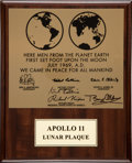 Autographs:Celebrities, Apollo 11 Lunar Plaque Signed by Buzz Aldrin and Michael Collins....