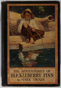 Books:Literature Pre-1900, Mark Twain. The Adventures of Huckleberry Finn. Harper,1923. Illustrated by Worth Brehm. Binding worn and torn, a f...