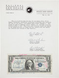 Explorers:Space Exploration, Mercury-Redstone 3 (Freedom 7) Flown One Dollar Bill, Signedby Alan Shepard and others, with Signed LOA from NASA...