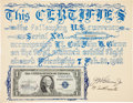 Explorers:Space Exploration, Mercury-Atlas 6 (Friendship 7) Flown One Dollar Bill, Signed by John Glenn, with Signed Certificate of Authenticit...