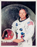 Autographs:Celebrities, Neil Armstrong Signed Color White Spacesuit Photo....