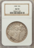 Seated Dollars, 1846 $1 AU55 NGC....