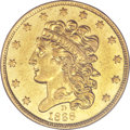 Classic Half Eagles, 1838-D $5 AU53 PCGS. McCloskey 1-A, R.3....