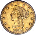 Liberty Eagles, 1849-O $10 AU53 PCGS. Variety 2....