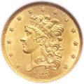 Classic Half Eagles, 1835 $5 MS63 NGC. Second Head, Breen-6505, McCloskey 3-D, R.3....