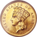Three Dollar Gold Pieces, 1883 $3 MS64 Prooflike NGC....