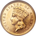 Three Dollar Gold Pieces, 1886 $3 MS62 Prooflike NGC....